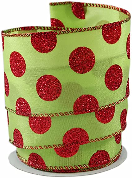 """2.5/"""" WIRED CHRISTMAS RIBBON GREEN ORGANZA WITH RED,LIME,/& GOLD GLITTER TREES"""