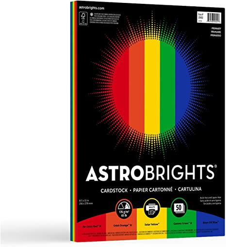 50-Sheet Astrobrights Cardstock Primary Colors