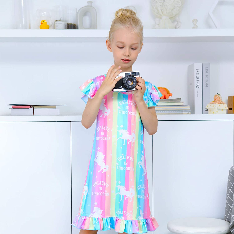 Fiodrimy Girls Nightgowns Unicorn Sleepwear Soft Nightgown Night Dress for Kids
