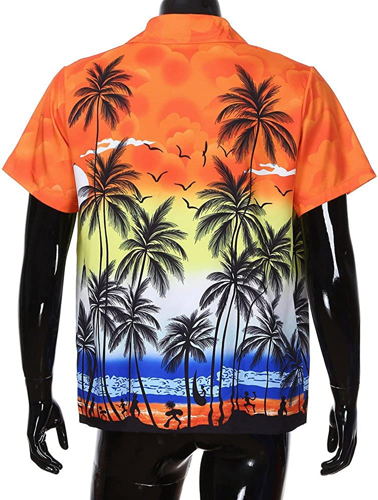 Camiseta para Hombre MISSWongg Camisa Hawaiana para Hombre Camiseta de Manga Corta con Cuello en la Parte Delantera Estampado Floral de Playa Blusa ...
