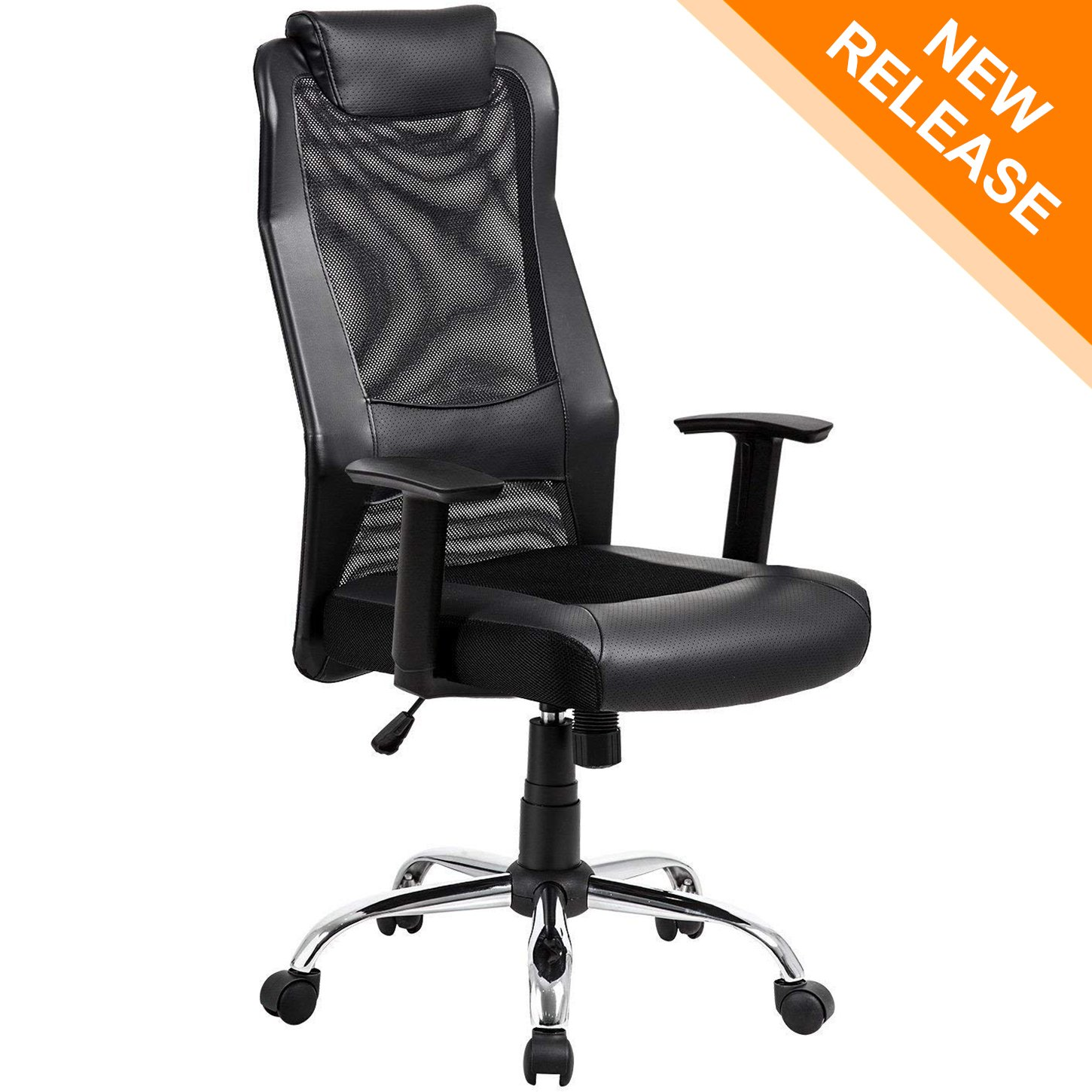 KADIRYA High Back Breathable Mesh Office Chair Lumbar Support Computer Desk Task Executive Ergonomic Swivel Chair with Leather Padded Headrest and Seat Adjustable Armrests BIFIMA Certification