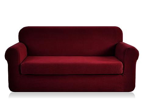 Funda de sofá elástica de CHUN YI, con textura jacquard, de elastano, 2 piezas , granate, Sofa