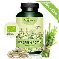 BIO GERSTENGRAS + WEIZENGRAS Kapseln Vegavero | HOCHDOSIERT | Green Power Mix | kontrollierte BIO Qualität | 180 Kapseln | VEGAN und OHNE Zusatzstoffe | Alternative zu Pulver mit strengem Geschmack | Vitamine - Mineralien – Antioxidantien
