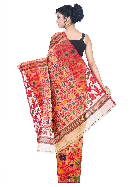 Beige Jamdani Cotton Silk Saree
