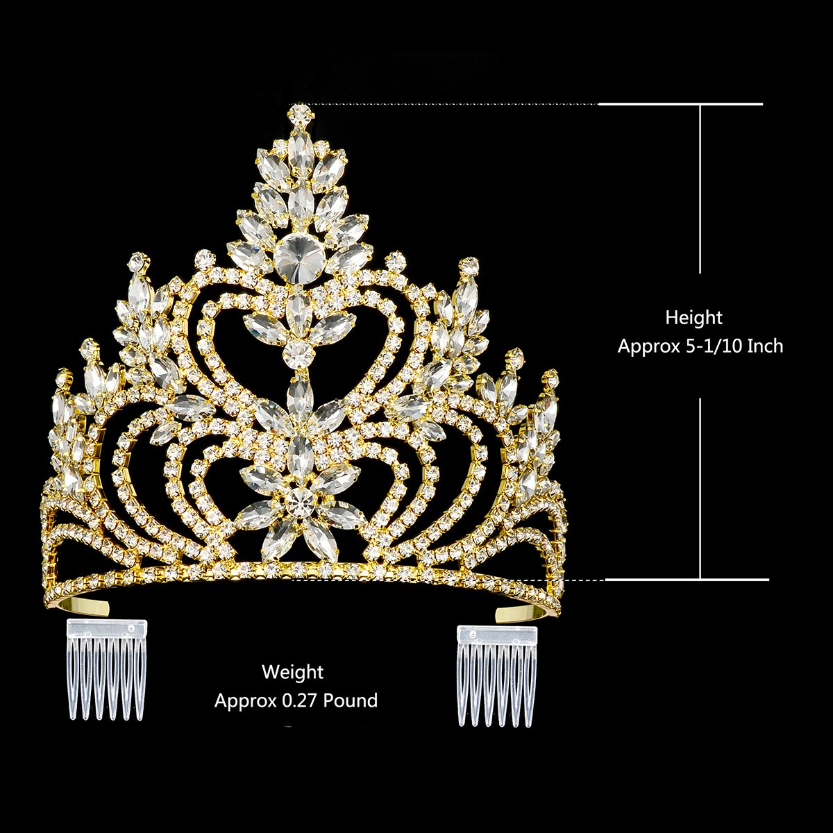 DcZeRong 5'' Tall Large Tiara Adult Women Birthday Pageant Prom Queen Gold Crystal Rhinestone Crown by DcZeRong (Image #2)