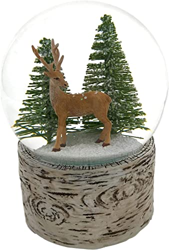 The San Francisco Music Box Company Deer in The Wood Snow Globe