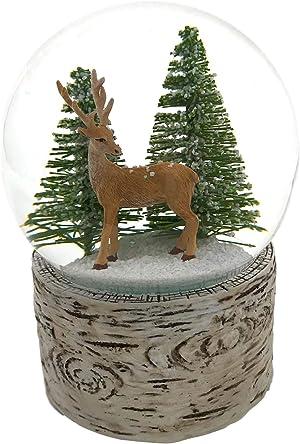 The San Francisco Music Box Company Deer in The Wood Snow Globe