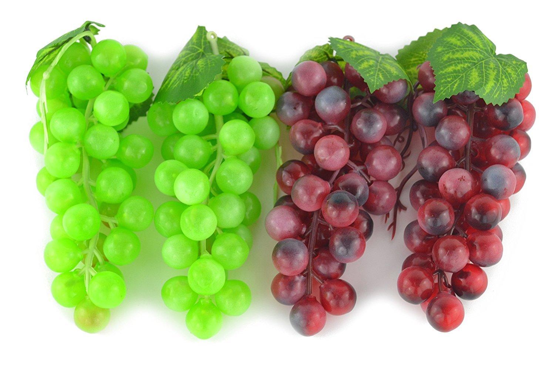 Frutta artificiale realistica, grappolo d'uva bianca e nera, 4grappoli, decorazioni da casa, cucina e feste 4grappoli Generic