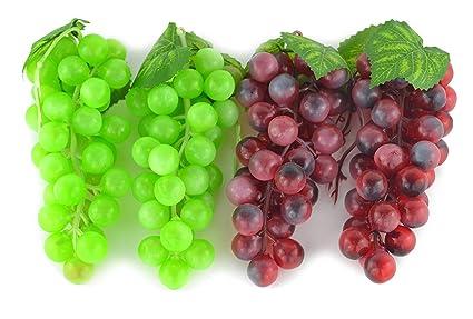 4 ramilletes de Artificial verde y morado racimo de uva simulación ...