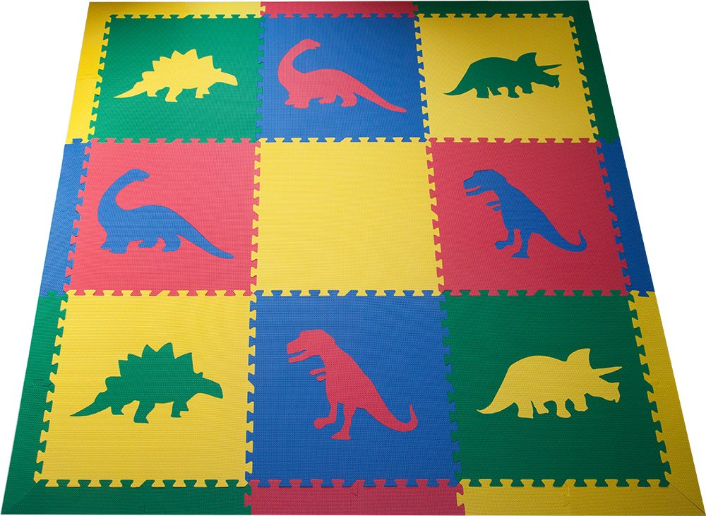 SoftTiles Kids Interlocking Foam Play Mats- Dinosaur Jurassic Theme- Premium Foam Mats for Children's Playrooms and Baby Nursery- 6.5' x 6.5' - Primary Colors SCDPRIMBORD