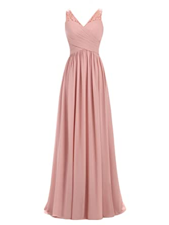 A-line V-Neck Chiffon Long Empire Bridesmaid Dresses Simple Prom Dresses (US2