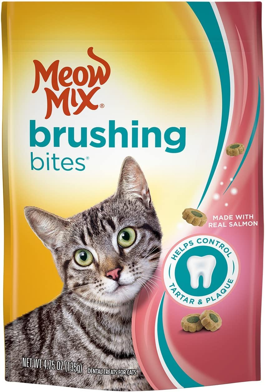 Meow Mix Brushing Bites Cat Dental Treats Made with Real Chicken