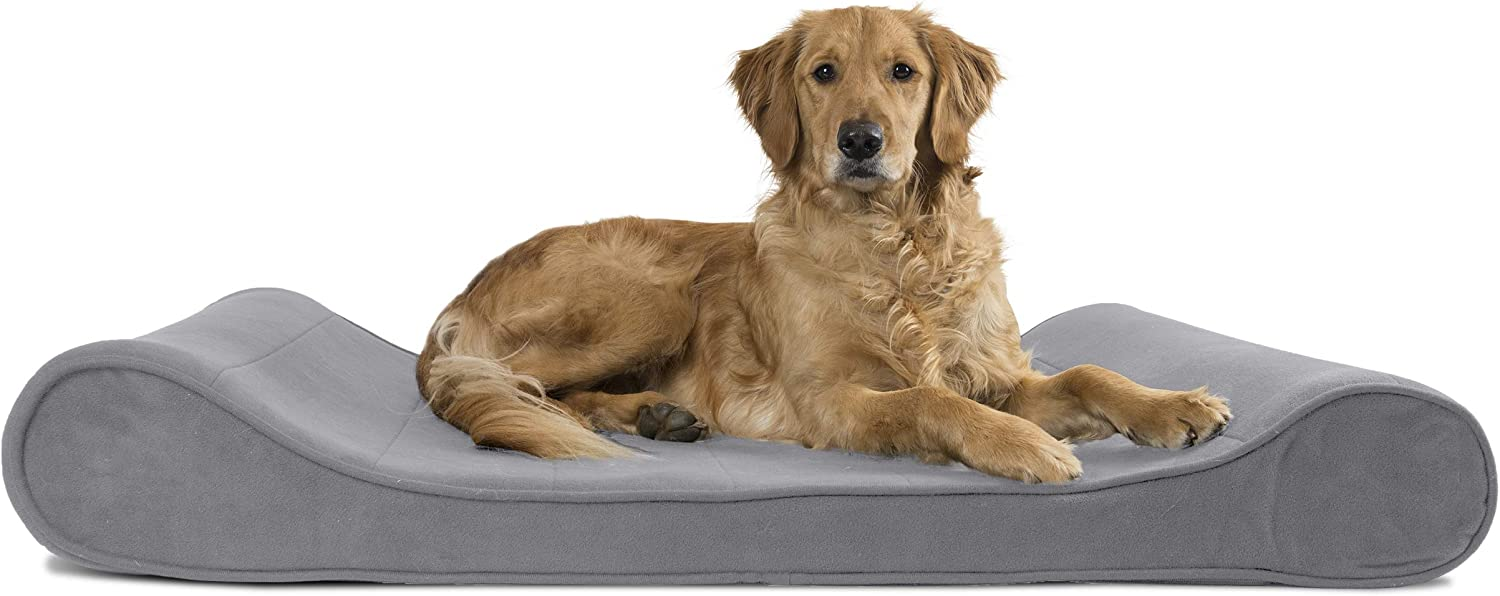 Furhaven Pet Dog Bed - Orthopedic Micro Velvet Ergonomic Luxe Lounger Cradle Mattress Contour Pet Bed with Removable Cover for Dogs and Cats, Gray, Jumbo : Pet Supplies