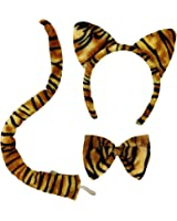 Jacobson Hat Company Adut Tiger Plush 3 Pc. Costume Set, multi-colored, One Size fits Most