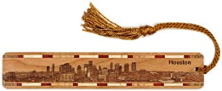 product image for Houston Texas Skyline Engraved Wooden Bookmark with Tassel - Also Available Personalized