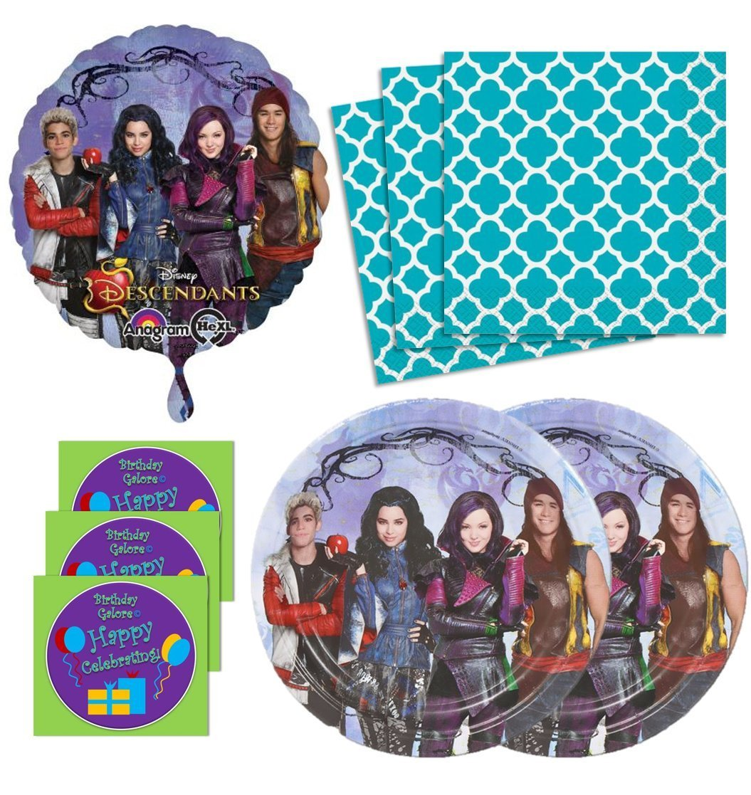 Descendants Birthday Party Supplies Set Plates Napkins & Balloon Kit for 16 Plus Stickers