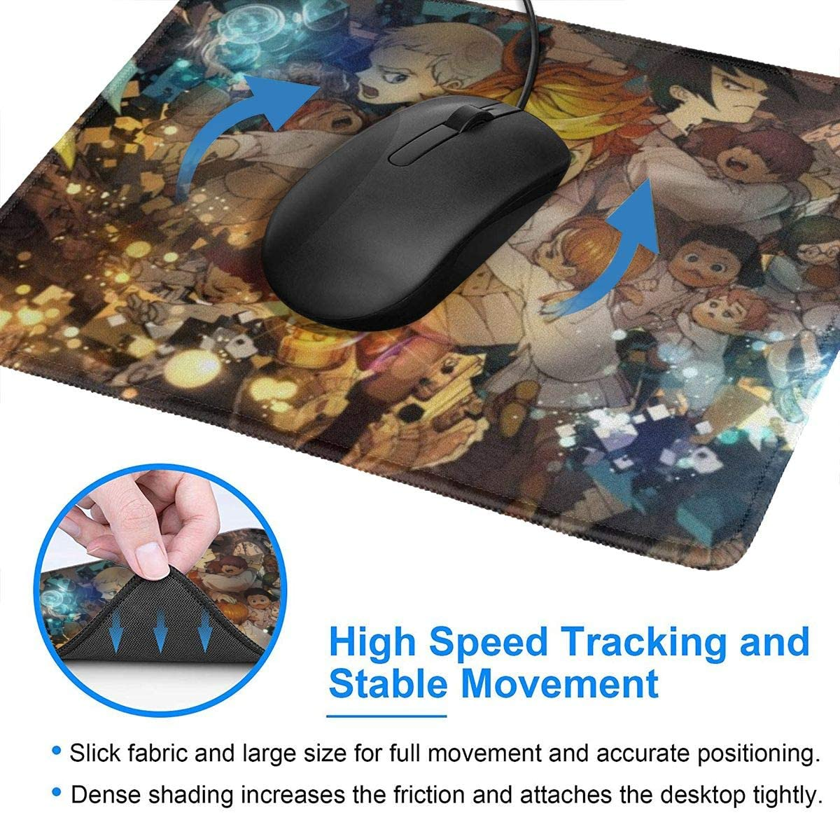 The Promised Neverland Mouse Pad Rectangle Mouse Mat for Computer Desk Laptop Office 7 X 8.6 in Non-Slip Rubber