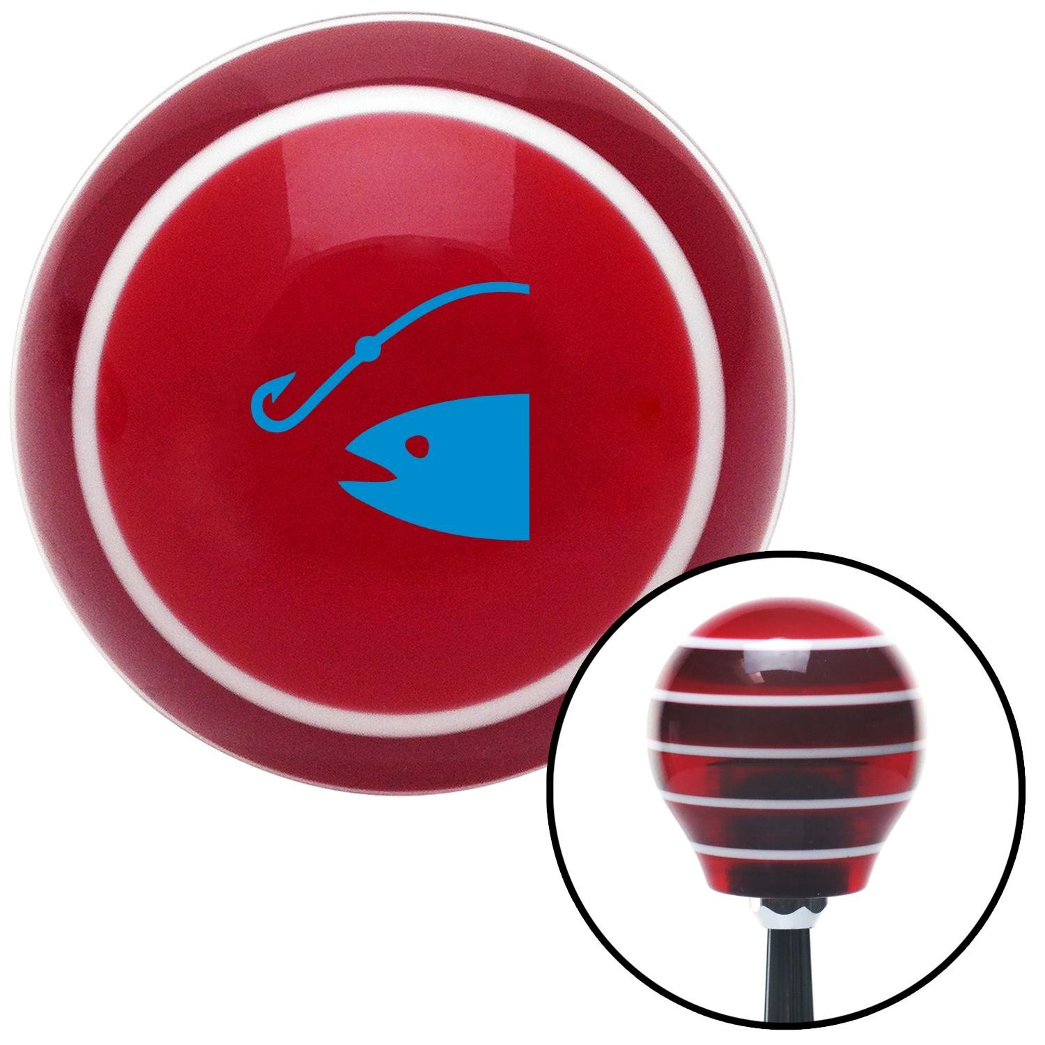 American Shifter 119039 Red Stripe Shift Knob with M16 x 1.5 Insert Blue Fish and a Hook