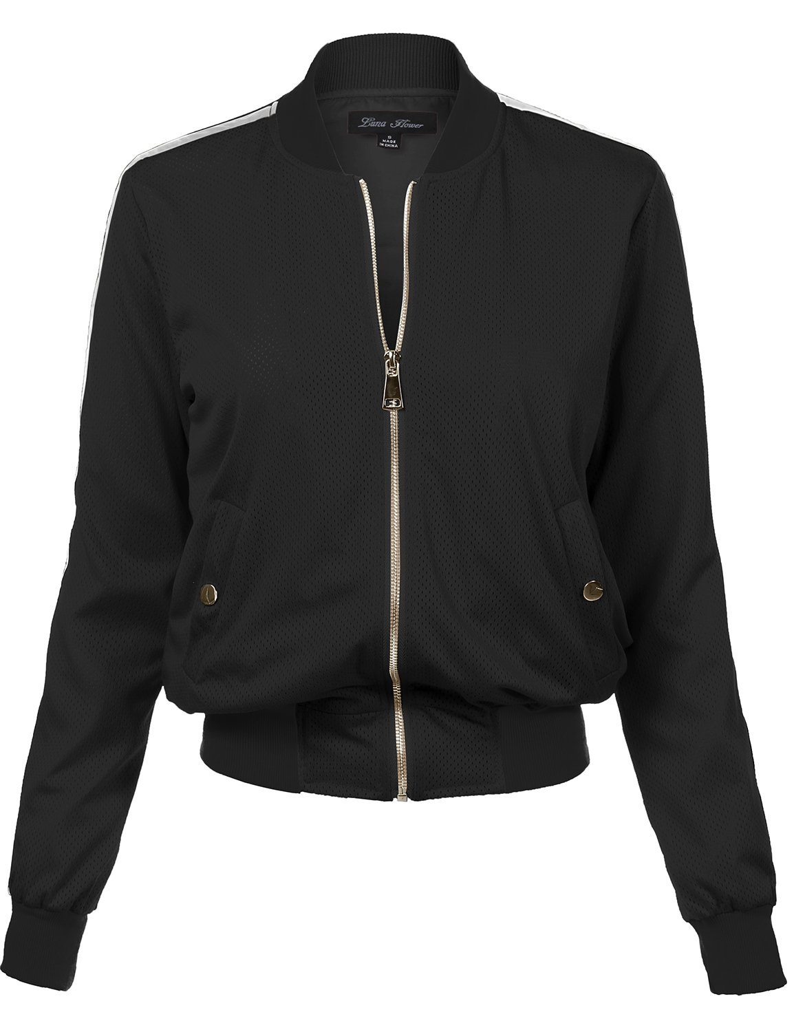 Waist Length Relaxed Fitted Style Zipper Closure Bomber Jacket, 109-Black, Small