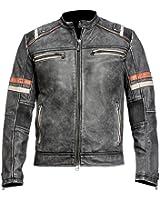 Spazeup Cafe Racer Jacket Vintage Motorcycle Retro Moto Distressed Leather Jacket