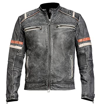 Spazeup Mens Vintage Motorcycle Cafe Racer Retro Moto Distressed Leather Jacket