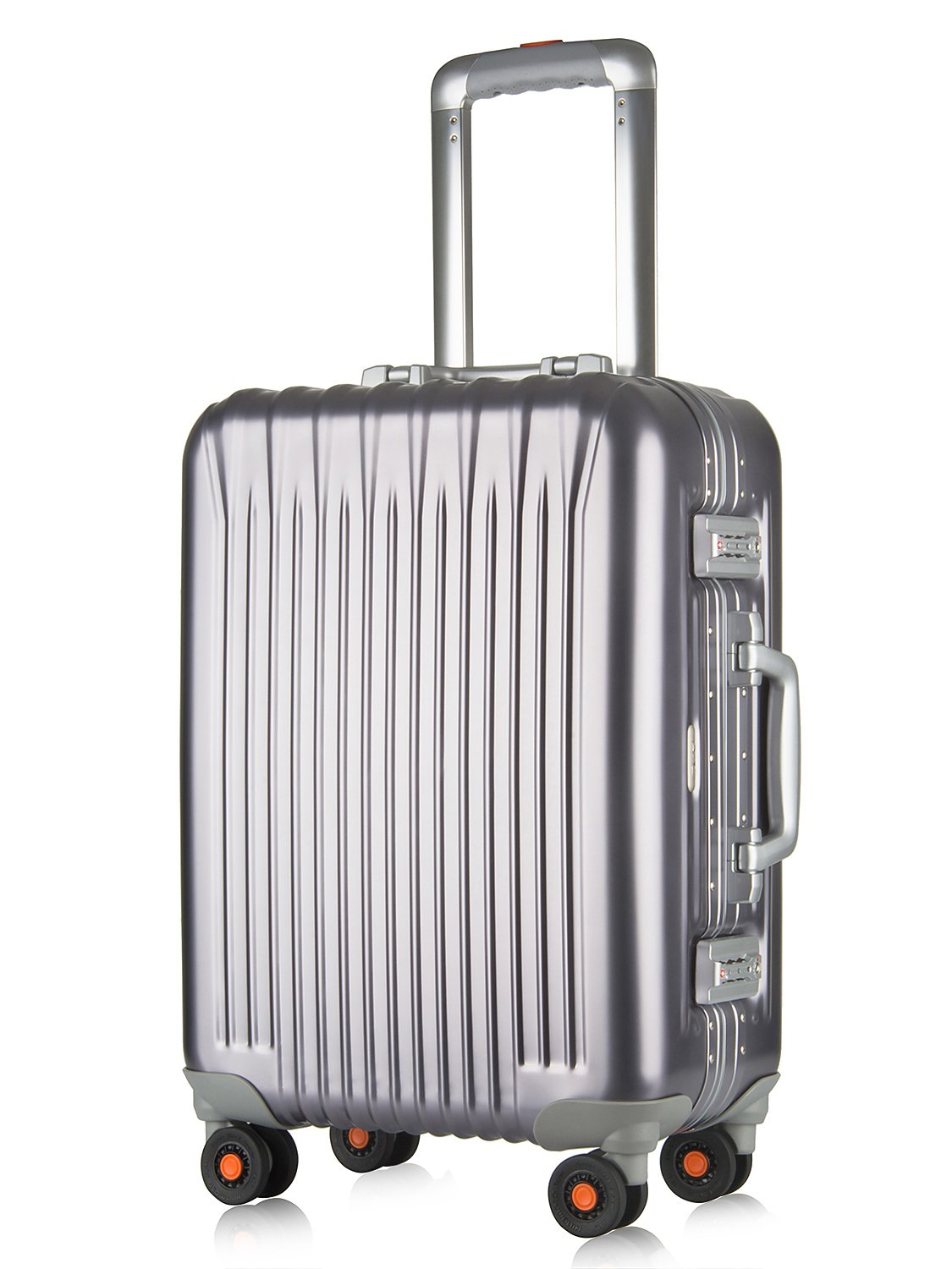 All Aluminum Luggage, HardShell Carry On Spinner Suitcase Grade 5 Aluminum-Magnesium Alloy TSA Approved 20'', Gunmetal by Clothink