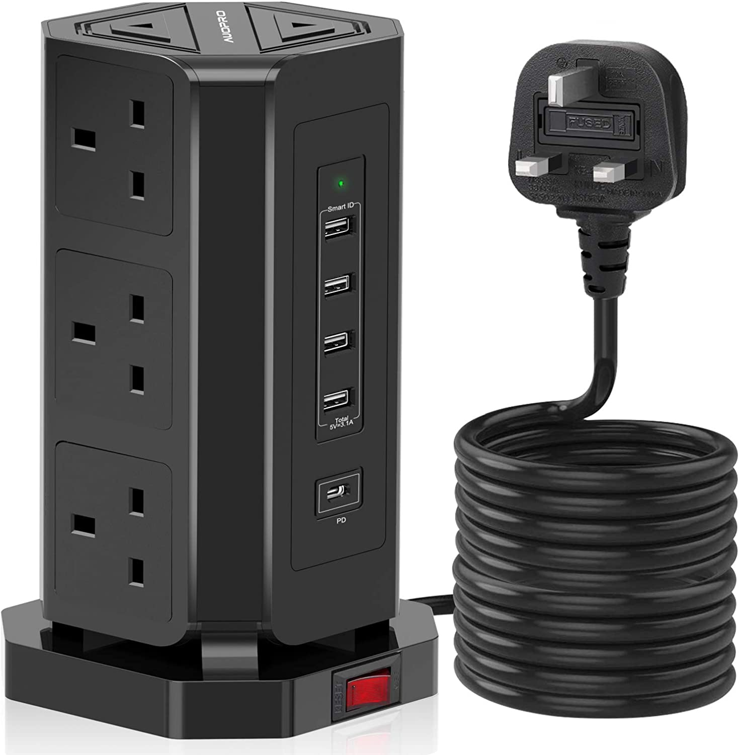 Long Cord for Computer PC Tablets Mobile Devices AUOPRO 9 Gang Extension Tower with 5 USB Slots Black Power Strip 1 USB C//18W Fast Charging Tower Extension Lead 3M Multi Plug Desktop Power Socket