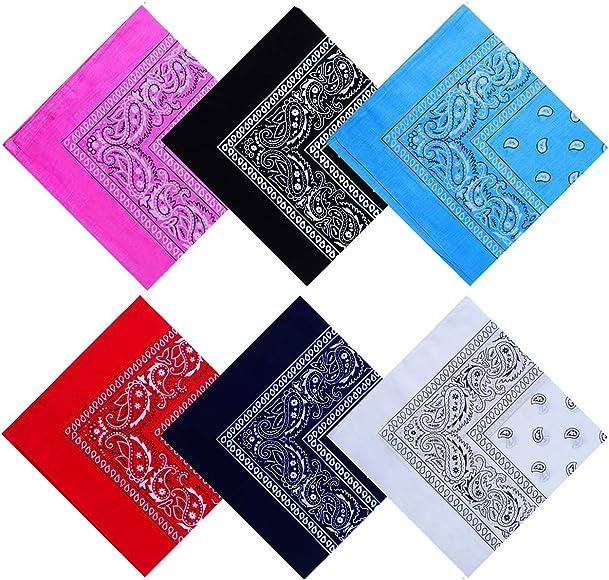 PENGDUO 6 unidades de pañuelos bandana de algodón multifunción, pañuelos bandana de vaquero 55 x 55 cm: Amazon.es: Ropa y accesorios