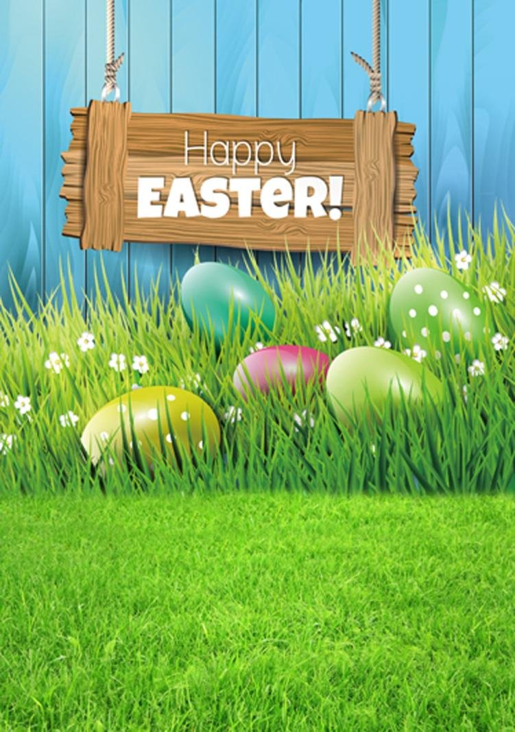 Easter Day Theme,Cute Fairy Tale Green Nature wold, Vinyl Photography Backdrop Custom Photo Background Props (F) GreatTry