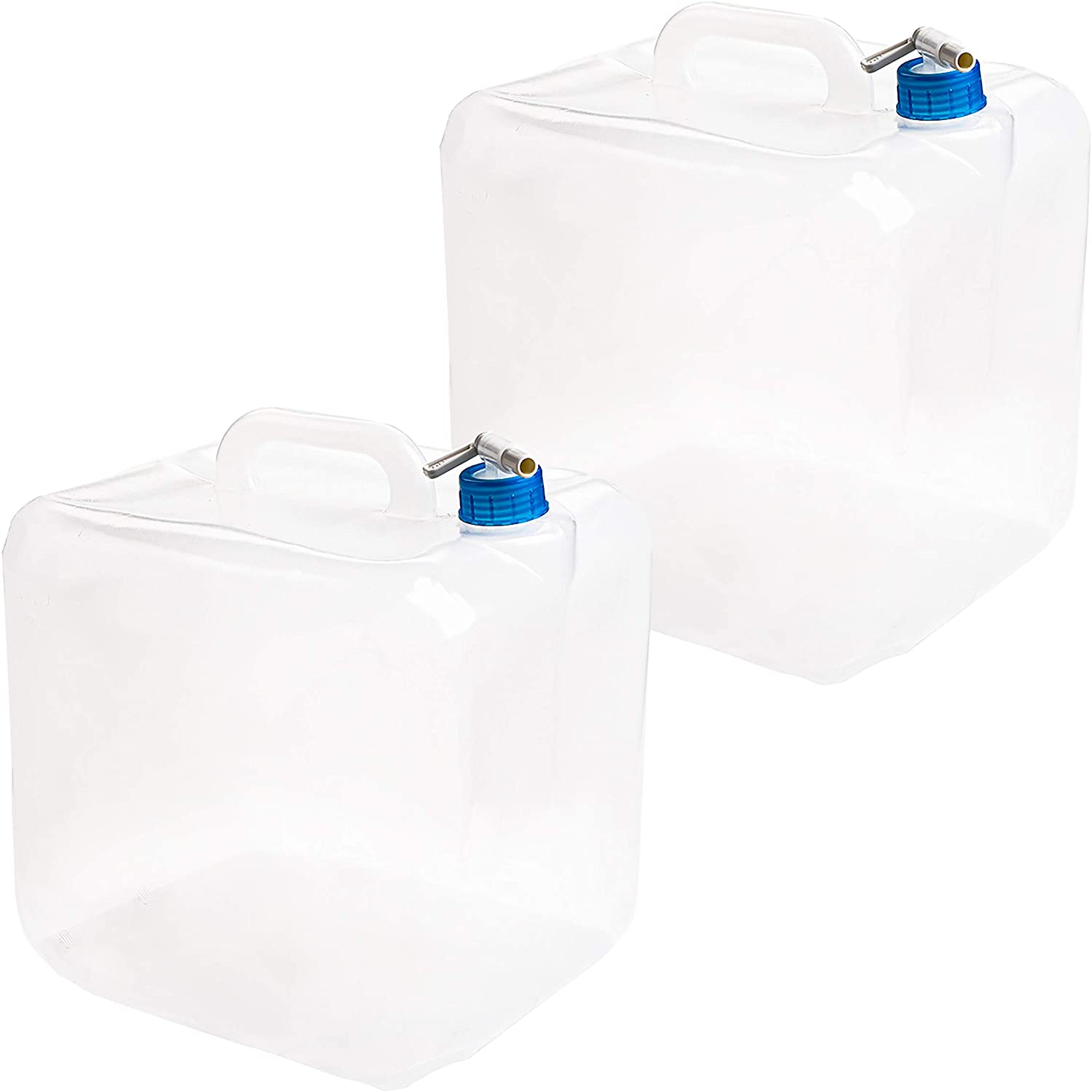 Cedilis 2 Pack 5.3 Gallon Collapsible Water Container with Spigot, Food Safe Water Storage Cube, BPA-Free Camping Water Storage Jug Canteen for Outdoor Hiking & Emergency, Portable, Foldable