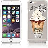 JAMMYLIZARD | Cover custodia in Silicone Trasparente con Sketch per iPhone 6 e 6s, GELATO VANIGLIA