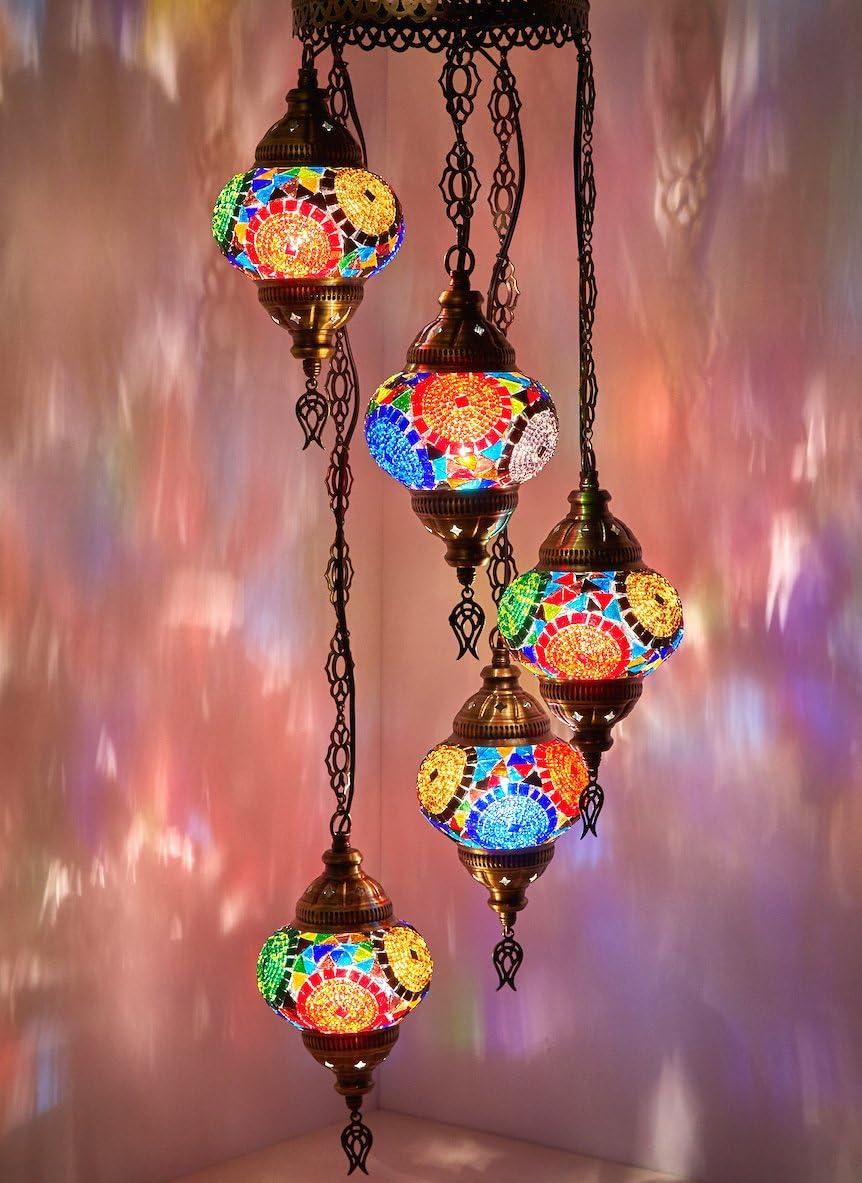 DEMMEX Turkish Moroccan Mosaic Hardwired OR Swag Plug in Chandelier, 5 Globes 5 X 4.7 Swag