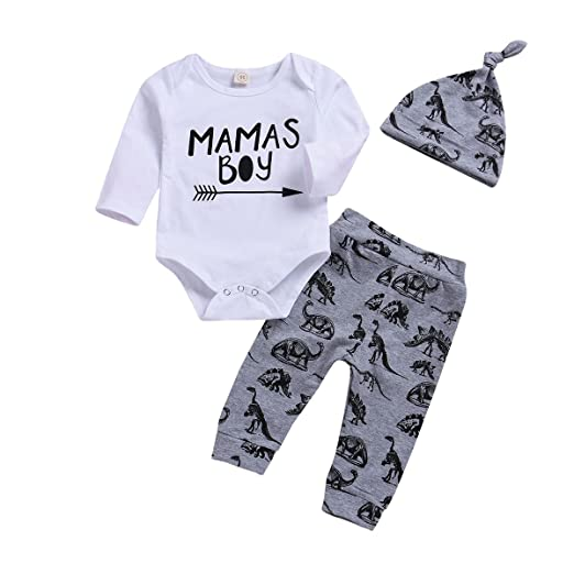 Younger Tree 3pcs Newborn Baby Boy Mama s Boy Print Long Sleeves Outfit  Dinosaur Pant + Hat 254a99754e6