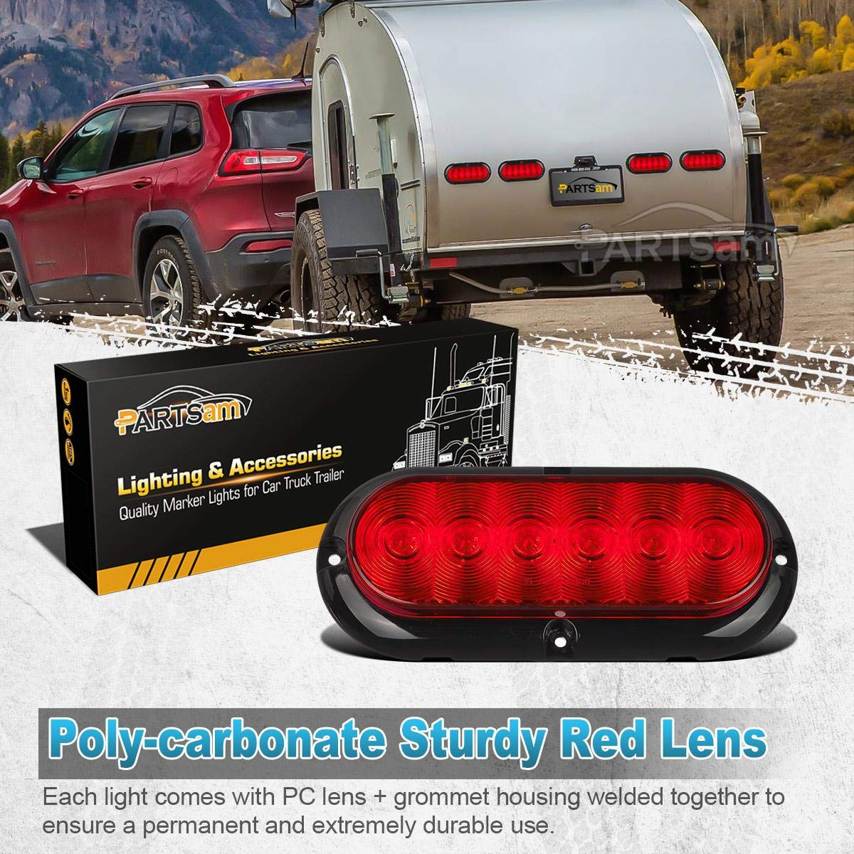 Partsam 2pcs Trailer Truck Boat Bus Red Led 6 Inch Oval Also Tail Lights Along With Wiring Stop Turn Brake Light Dot Certified Marker Sealed Surface Mount 12v
