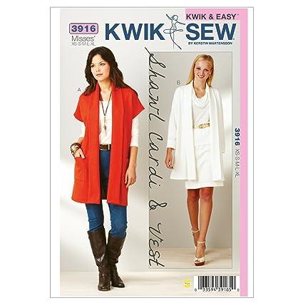 Amazon Kwik Sew K3916 Shawl Cardi And Vest Sewing Pattern Size