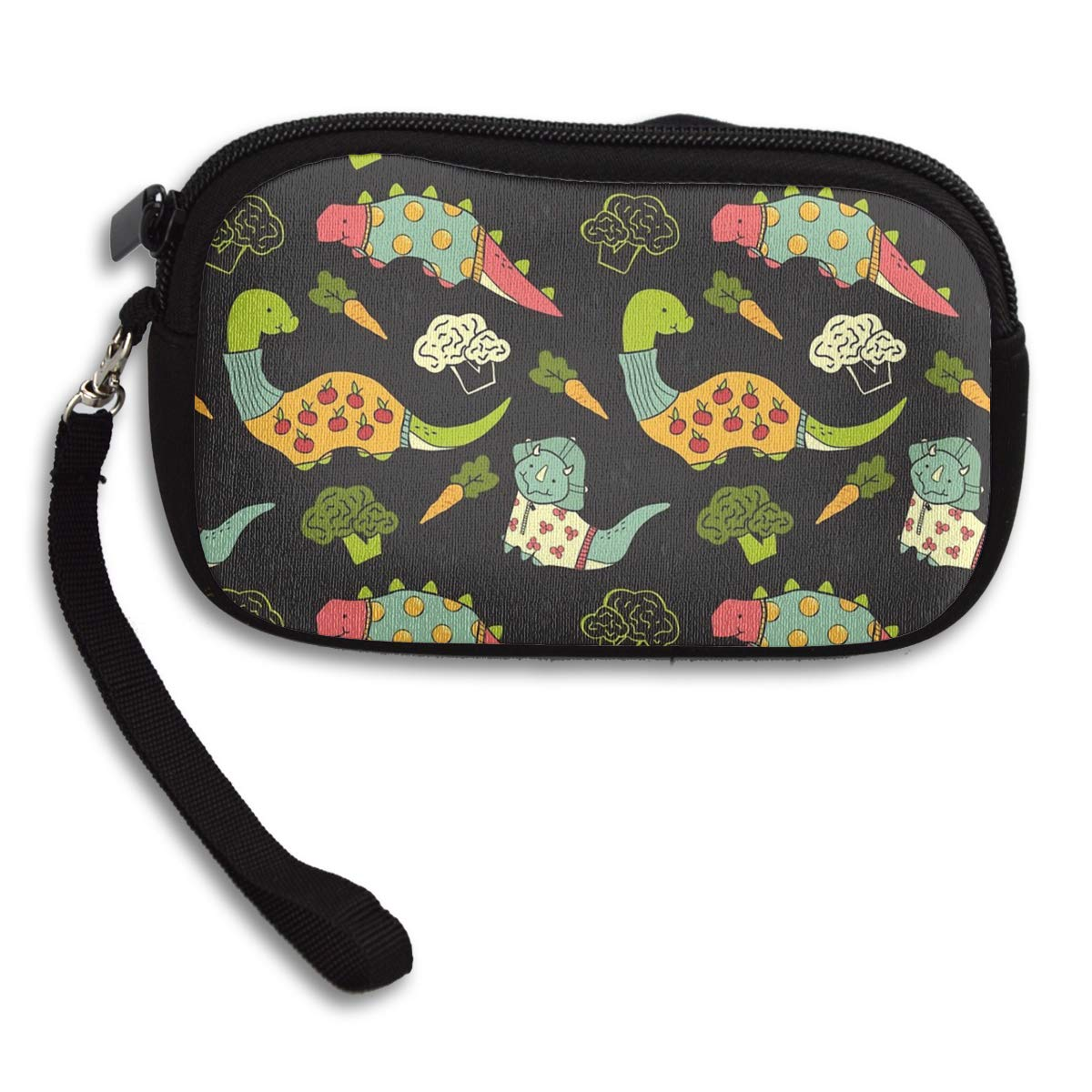 Eat Veggies Dinosaur Cherry Vegetables Coin Pouch Clutch Purse Wristlet Wallet Phone Card Holder Handbag