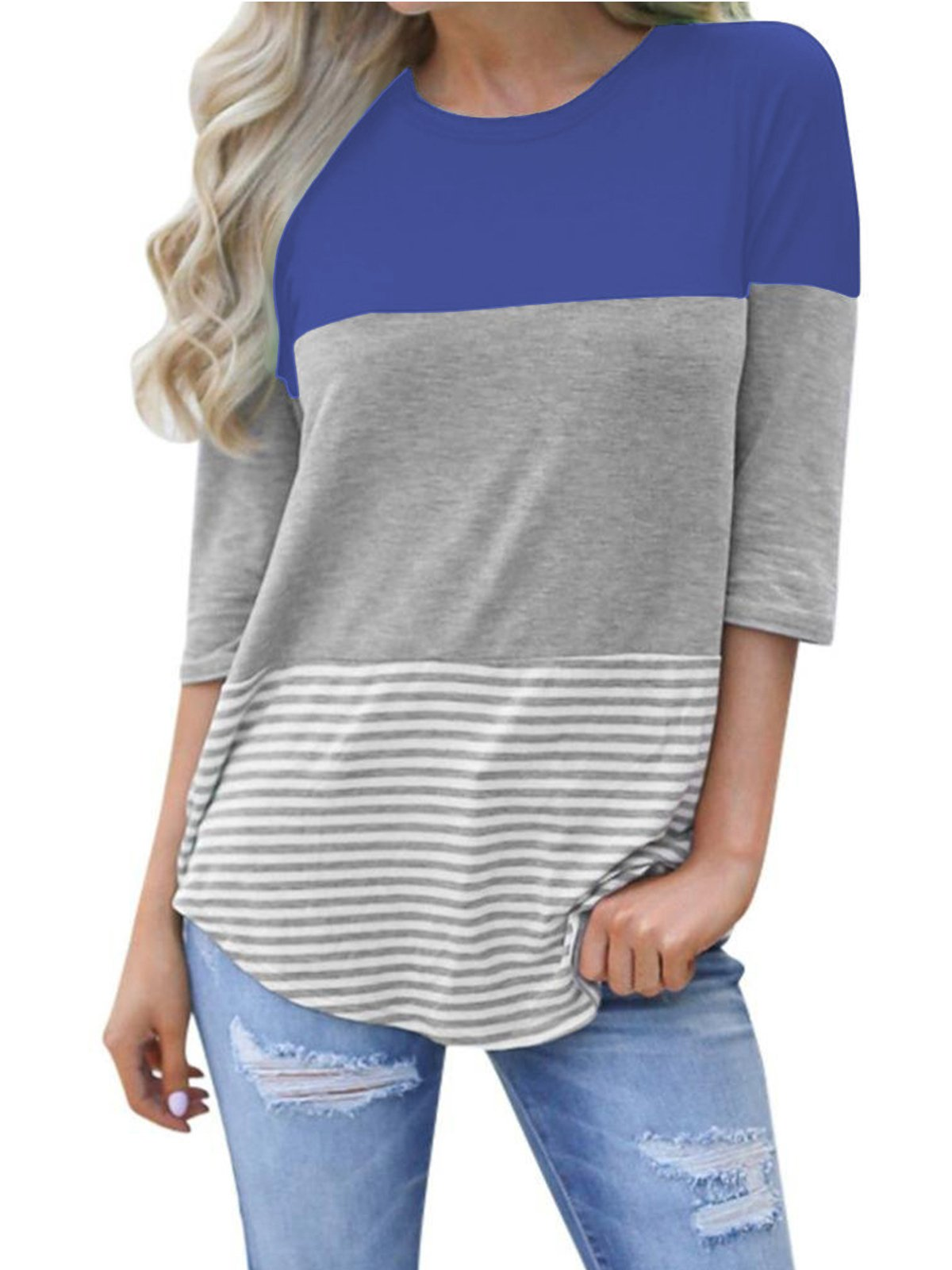 VYNCS Womens Casual 3/4 Sleeve Back Lace Top Blouses Triple Colorblock Striped Tops Tee Shirt(Navy Blue, Medium)
