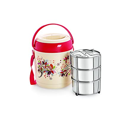Cello Mark Insulated 3 Container Lunch Carrier, Red Jars & Containers at amazon