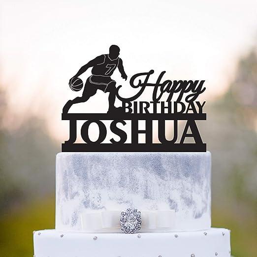 Decoración personalizada para tarta de baloncesto de cumpleaños ...