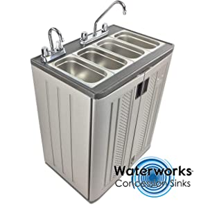 Concession Sinks - Standard Size Electric 3 Compartment with Hot Water for Food Vending Trailer, Hand Wash