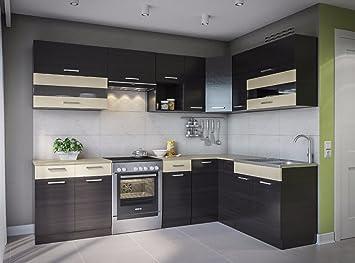 Eldorado de ángulo de Muebles Cocina Alina 270 x 170 wengué L Forma de Cocina línea Esquina Cocina Block: Amazon.es: Juguetes y juegos