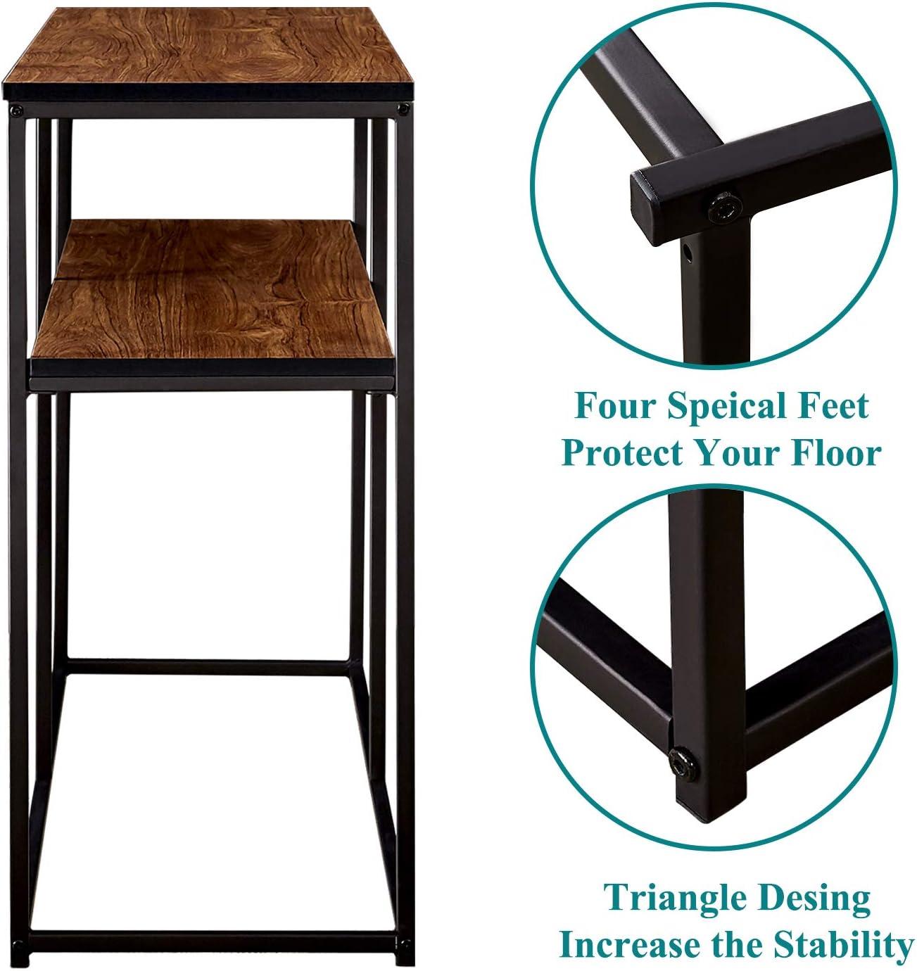 Brown VECELO 2 Tier Console Multipurpose Sofa Side Bookshelf Rectangular Entryway//Living Room Tables with Storage Shelf