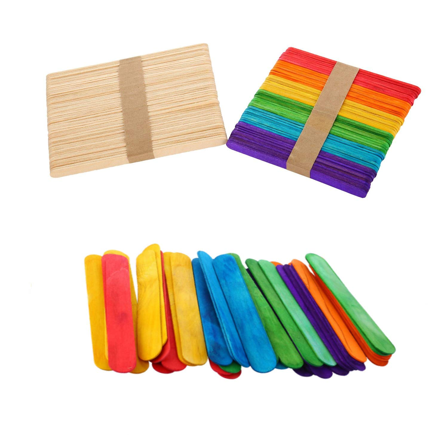 Rmeet Palillo de Madera,50 Pack Palos de Polo Colores + 50 Pack ...