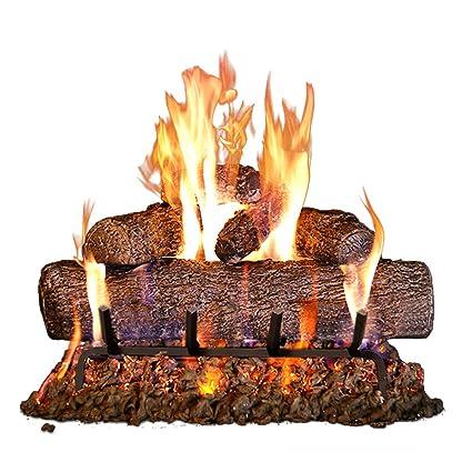 peterson real fyre 18 inch live oak log set with vented burner match light natural gas only rh amazon com