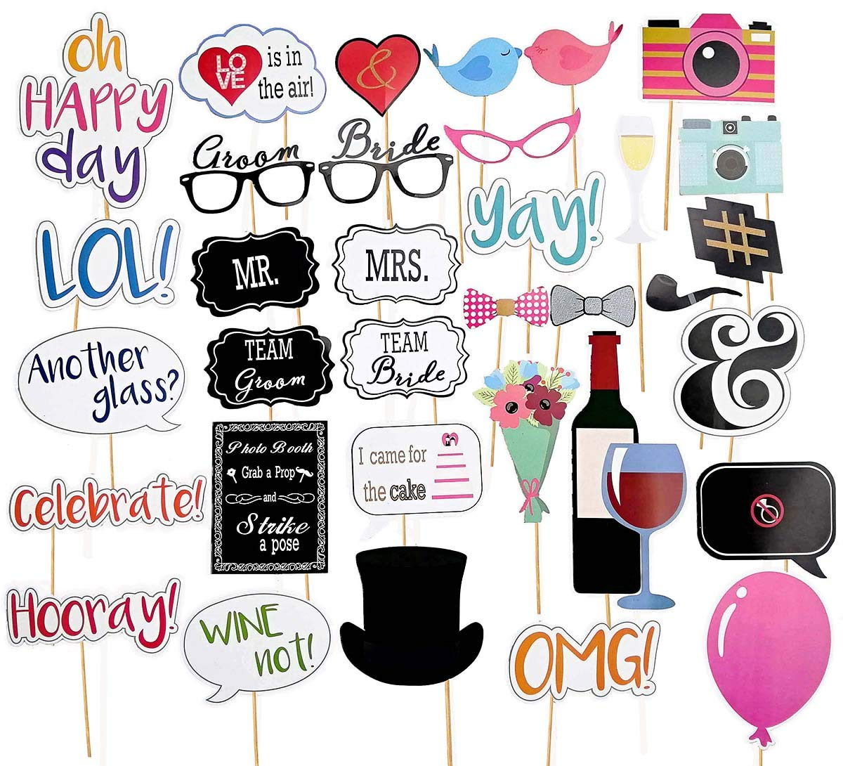 Wedding Photo Booth Props,Pre Assembled,No DIY Required,Bridal Shower Bachelorette Party Strike a Pose Sign (34pcs for Wedding)