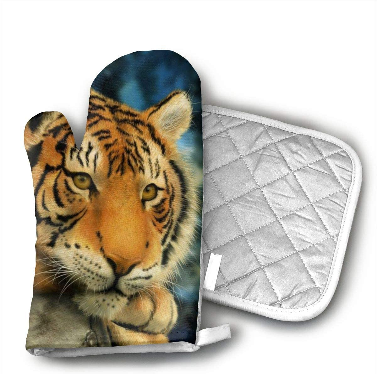 GRSTsys Lazy Tiger Oven Mitts, Cook Mittens Protect Your Hand During Baking Doing BBQ