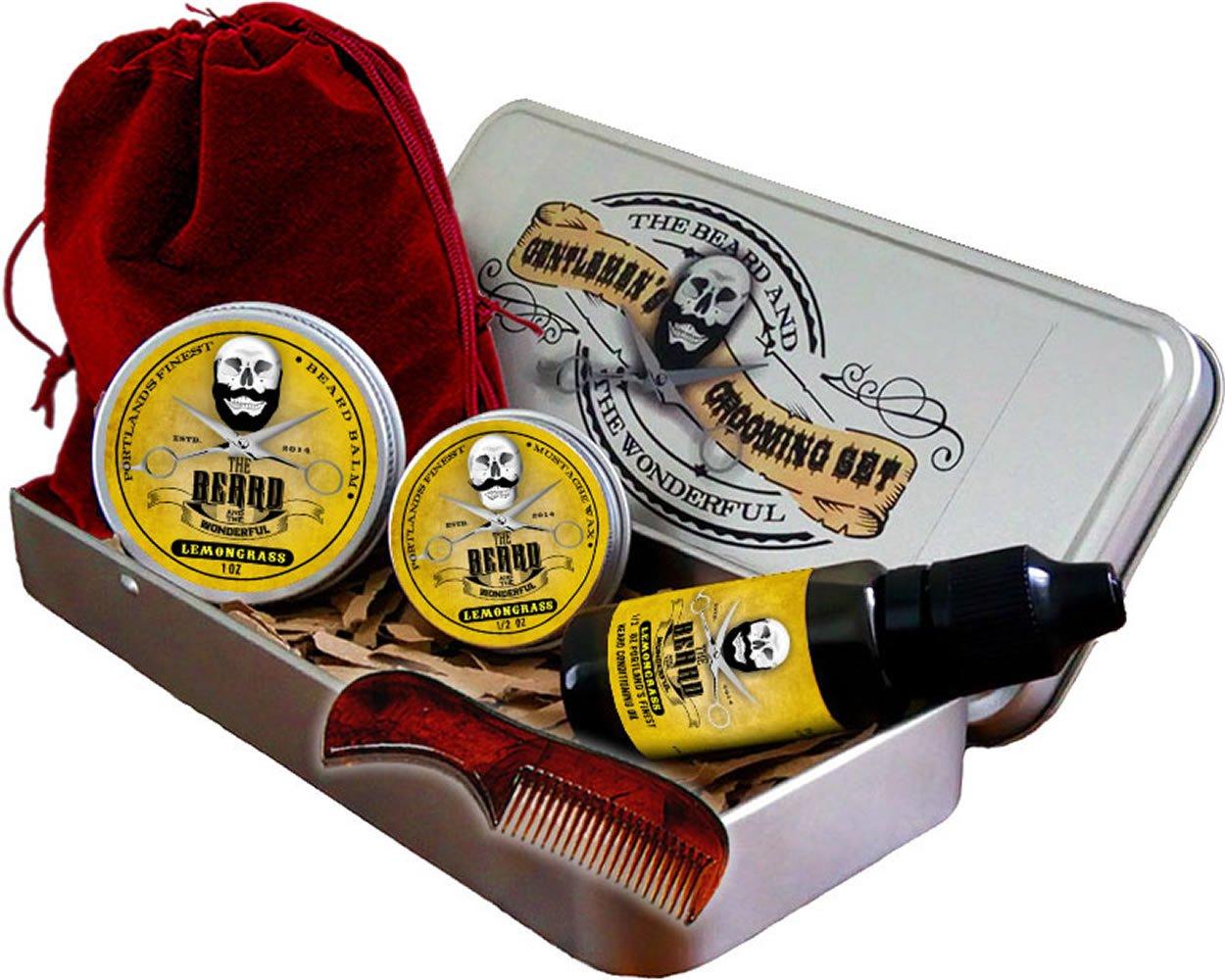 Juego para cuidado de barba,fragancia de citronela, aceite para barba tradicional, cera para bigote, bálsamo para uniformar, Minipeine, en una hermosa funda de regalo de aluminio, El regalo perfecto, todos los ingredientes son naturales fragancia de citr
