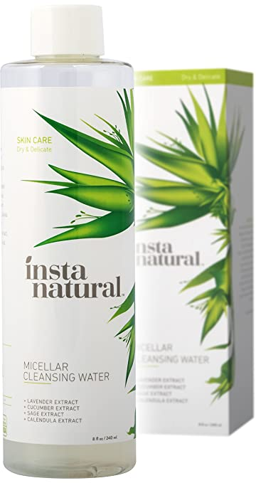 InstaNatural Micellar Water - Gentle Nonrinse Facial Cleansing & Simple Makeup Remover - Natural Skin Care Solution for Sensitive Skin - Fast Daily Hydration - Great for Post Gym Use & Travel - 8 OZ