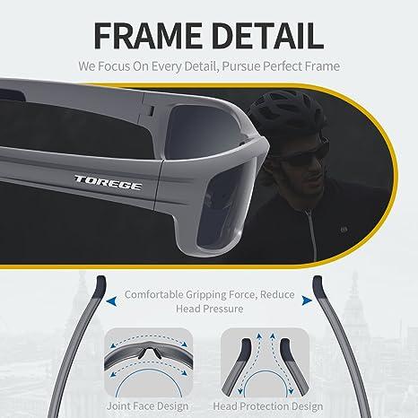 Gafas de sol deportivas Torege TR90 polarizadas para hombres y mujeres, para ciclismo, correr, pescar, jugar al golf, montura irrompible