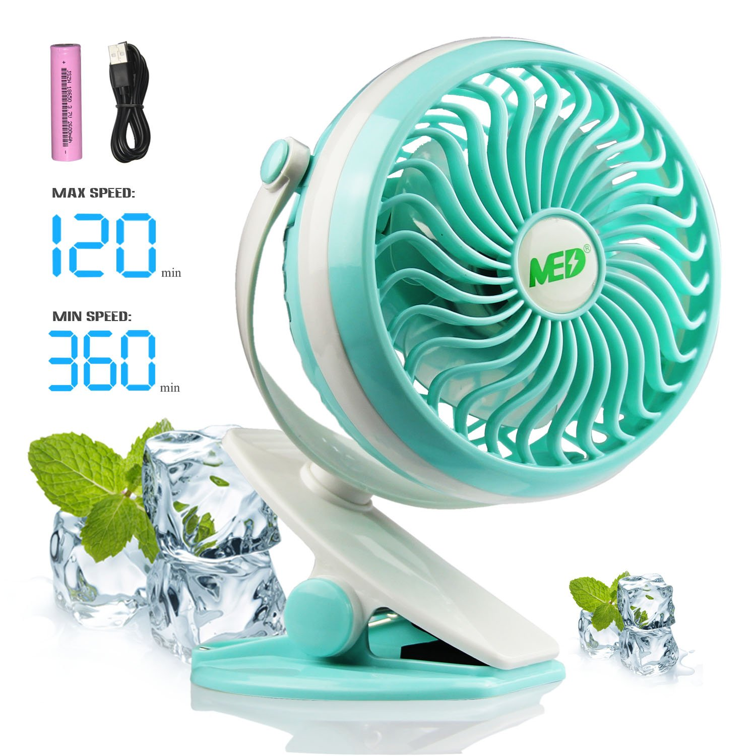 Baby Stroller Mini Battery Operated Clip Fan,Small Portable Fan Powered by Rechargeable Battery or USB Desk Personal Car Gym Workout Camping (green)